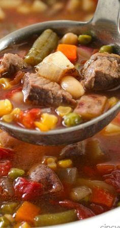 Slow Cooker Vegetable Beef Soup  ~ Loaded with lots of vegetables, beef, and tons of flavor... You can toss all your ingredients in the Crock-Pot and have dinner ready when you are..