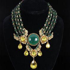 "<b>Stunning Miriam Haskell Egyptian Inspired Regal Bib Necklace with Green Glass and Peridot Rhinestone.</b> 15 1/2"""