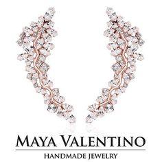 Rose Gold Ear cuff, Bridal Ear cuff, Ear Climber, Climbing Earring, Swarovski Ear Cuff, Prom Ear Cuff, Swarovski Earring, Statement Jewelry. https://www.etsy.com/shop/MayaValentino  #mayavalentino #handmade #jewelry #etsy #etsyfinds #shopping #shopetsy #et