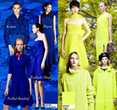 Blue Sapphire and Chartreuse Pre-Fall 2014 Trend Council #DORLYDESIGNS: Pre-Fall 2014: Runway Designer Fashion Colour Trends Report