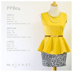 Bright Mustard Vintaged Inspired 70s Sleeveless Peplum Blouse Dinner Party Office Wear S M L Free Alteration