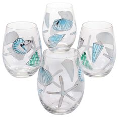 Beach Inspired Glassware Glass Paint Pens Beach Crafts Painted Wine Glasses