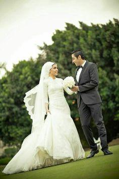 Hijab beautiful bride Perfect Muslim Wedding - Another! Hijabi Wedding, Muslim Wedding Dresses, Muslim Brides, Muslim Couples, Moslem, Bridal Hijab, Marriage Couple, Wedding Couples, Married Couples