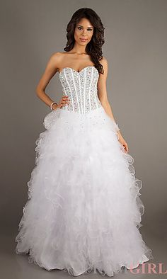 Long Bead Embellished Strapless Sweetheart Dress at PromGirl.com - like it better in the blue.