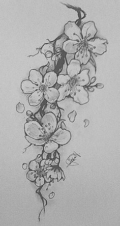 Ideas Tattoo Flower Sleeve Black And White Thigh Piece Tatoo Floral, White Flower Tattoos, Black And White Flower Tattoo, Black Tattoos, Sunflower Tattoos, Cherry Tattoos, Cherry Blossom Drawing, White Cherry Blossom, Cherry Blossoms