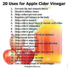 20 Uses for Apple Cider Vinegar. My husband is English.this is his favorite health ingredient! Vinegar has been used for centuries for various cooking and household purposes. And the most popular of all the vinegar types is apple cider vinegar. Braggs Apple Cider, Apple Cider Vinegar Remedies, Apple Cider Vinegar For Skin, Apple Cider Vinegar Benefits, Apple Benefits, How To Relieve Nausea, Canned Apples, Home Remedies, Health And Fitness