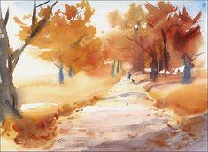 Fall Landscape Original Watercolor Painting Man by CMwatercolors