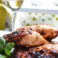 Yogurt, Fresh Lemon and Basil Pesto Marinated Grilled Chicken