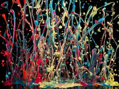 "Steve Reich and Musicians, ""Drumming"" ---  Artist Martin Klimas came up with a clever idea: he put splatters of plaint on a scrim over a speaker and played music. As the volume was turned up, the paint popped up in the air and he captured the moments in a photograph. It's a synchronised cacophony of art and music."