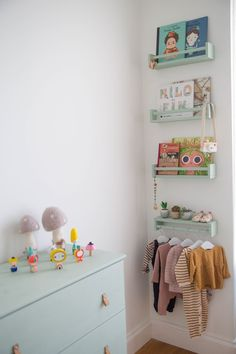 First-Time Home Buyers Tackle a Apartment Reno seafoam green 4 stacked bottom upside-down clothes rod The post First-Time Home Buyers Tackle a Apartment Reno appeared first on Babyzimmer ideen. Baby Bedroom, Baby Room Decor, Nursery Room, Girls Bedroom, Ikea Nursery, Playroom Decor, Ikea Bedroom, Bedroom Furniture, Boho Nursery