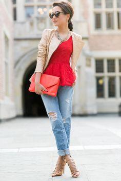 Top :: Zara jacket, lace peplum thanks to Lovers + Friends! Bottom :: J Brand Bag :: Loeffler Randall Shoes :: Schutz Accessories ::  Karen Walker sunglasses, Lulu Frost necklace