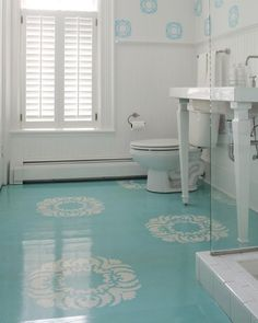 House of Turquoise: Beautiful Blue Painted Floors-- How do you get (and keep) that shine on painted wood floors? Stenciled Concrete Floor, Painted Concrete Floors, Painting Concrete, Stained Concrete, Painted Linoleum, Concrete Bathroom, Floor Painting, Diy Painting, Concrete Furniture