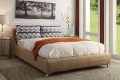 ACME Lightriver Queen Bed Light Brown Linen - 25270Q
