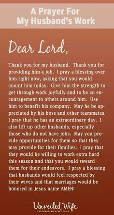 Pray for husband's work