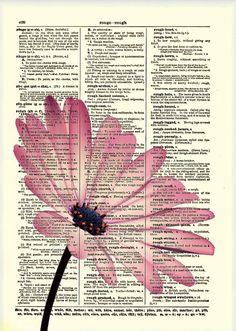 Pink Flower, Dictionary Art Print, Flower Art, Dictionary Print, Dictionary Page, Wall Decor, Mixed Media Collage, 019