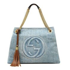 Pre-Owned  Authentic Gucci Soho Denim Shoulder Tote Metal Chain... ($1,355) ❤ liked on Polyvore featuring bags, handbags, shoulder bags, blue, preowned handbags, pre owned handbags, denim shoulder bag, zipper purse and gucci purses