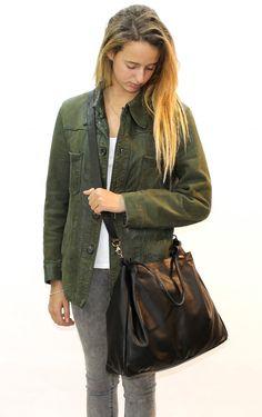 Sale Black leather bag Womens crossbody bag Large by LimorGalili