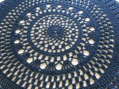 """Black giant doily rug.   Lacey large area by SallysCrochetCorner, $90.00 50"""""""