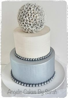 Small Silver Wedding Cake Trio 1 - Cake by Angelic Cakes By Sarah