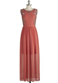Sunset in the Garden Dress. Let the long, sheer layer of this magnificent maxi dress skim your metallic strappy sandals as you stride into a garden party at dusk feeling utterly confident. #coral #promNaN