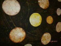 Planety- voda,jar,nabublat bubliny,posypat potrav. barvivem a obtisk na papir
