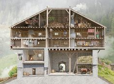 Joe Rohrer - Reconstruction of the Burg Frauenberg, Ruschein Medieval Houses, Medieval Town, Medieval Castle, Historical Architecture, Ancient Architecture, Château Fort, Fantasy Castle, Fortification, Fantasy Inspiration