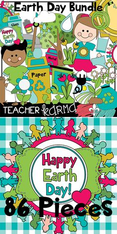 Earth Day Clipart BUNDLE with 86 graphics.  Perfect for ecology, recycling, environment and EARTH DAY!  ...Teachers Pay Teachers sellers and classroom teachers especially.  TeacherKarma.com