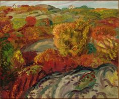 """Autumn, Rocks and Bushes,"" John Sloan, oil on canvas, 19 × 23 Delaware Art Museum. William Glackens, Ashcan School, American Realism, Winslow Homer, Impressionist, Art Museum, Paint Colors, Oil On Canvas, Autumn"