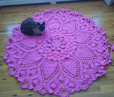 One of my WIPs... My Siamese always loves to be the first to try out my design. This is Pineapple Song with about six rounds to go! Design by Patricia Kristoffersen from the original book Absolutely Gorgeous Doilies