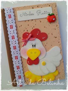 Art's da Belinha: Caderninhos Crafts To Sell, Diy And Crafts, Arts And Crafts, Foam Crafts, Paper Crafts, Post It Note Holders, Cute Kids Crafts, Recipe Scrapbook, Rooster Decor
