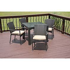 @Overstock - Outdoor wicker dining set is espresso in colorSpruce up your patio with the Savannah 5-piece dining setBeautiful furniture is made of Cyroplene all-weather wickerhttp://www.overstock.com/Home-Garden/Savannah-Outdoor-5-piece-All-weather-Wicker-Dining-Set/4146117/product.html?CID=214117 $1,112.64