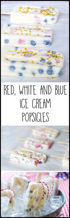 EASY to make red, white and blue ice cream popsicles are perfect for your Fourth of July festivities. Vanilla ice cream, chopped fresh strawberries and fresh blueberries make a perfect ice cream popsicle, made even more perfect with edible gold star sprin