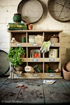 Potting bench cubbies; http://www.barnitts.co.uk/products/details/20568.html