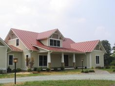 Gona be brave and put a red roof on our grey house. Tin Roof House, Metal Roof Houses, Metal House Plans, Metal Buildings, Metal Building Homes, Metal Homes, Building A House, House Paint Exterior, Exterior House Colors