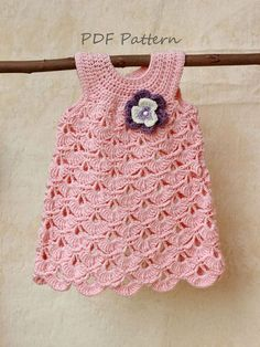 Crochet pattern Baptism baby girl dress pattern by GAMMAstudio