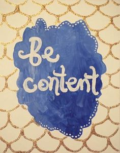 This Year I Want To Be Content