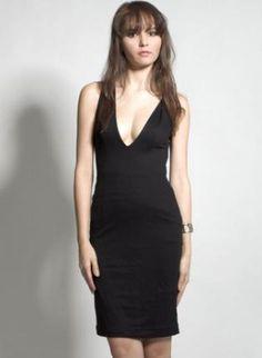 Black Racerback Sleeveless Dress with Plunging Neckline,  Dress, sleeveless  black dress  sexy, Chic