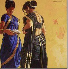 prasad kulkarni artist - Google অনুসন্ধান Indian Women Painting, Indian Artist, Indian Paintings, Pencil Art Drawings, Drawing Pics, Kashta Saree, Nauvari Saree, Traditional Paintings, Woman Painting