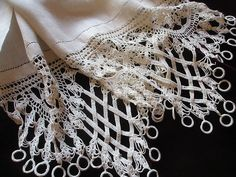 Linen runner with unusual crocheted ends