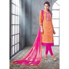 Chanderi Cotton Orange Churidar Suit Dress Material - 16511