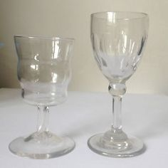 Small arts and crafts early Whitefriars glasses thought to be originally designed by Philip Webb and sold through William Morris and Co.