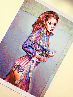 Rihanna Card Matte PRINT drawing illustration Fan Art