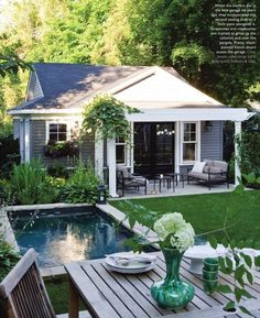 of :: pool dreaming Like the small patio and small pool.Images of :: pool dreaming - Fieldstone Hill DesignLike the small patio and small pool.Images of :: pool dreaming - Fieldstone Hill Design Garden Cottage, Home And Garden, Small House Garden, Dream Garden, Outdoor Spaces, Outdoor Living, Outdoor Retreat, Backyard House, Backyard Pools