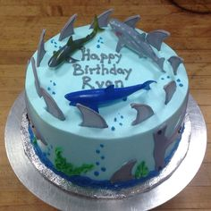 Awesome Image of Shark Birthday Cake . Shark Birthday Cake Shark Themed Birthday Cake With Royal Icing Fins Frosted With Our Ocean Birthday Cakes, Birthday Cake Kids Boys, Ocean Cakes, Themed Birthday Cakes, Shark Birthday Ideas, 4th Birthday, Shark Cupcakes, Shark Cake, Finding Nemo Cake