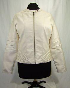 J2 Vegan Faux Leather Jacket Coat Cream Ivory Full Zip Sz: XL #J2 #BasicJacket