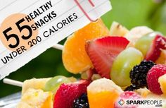 55 Healthy Snacks Under 200 Calories:  trail mix of 1/2 c multigrain cereal 1/4 c dried fruit, lt eng muffin 1T ff cr cheese, 1 sl homemade banana bread, greek yogurt, fudgesicle, fruit, crackers, tortila chips salsa, 2 hardboiled egg, 1 oz nuts, pita 2T hummus, jicama in 1/4c guac, rice cakes w/hummus, baby carrots w/hummus, edamame, soup, cottage cheese, apple string cheese