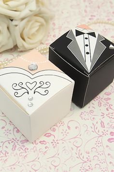 "50 (25 sets) Bride & Groom Tuxedo Dress Favor Box -2x2x2"" Wedding Party Favor Box -Candy Box-Cupcake Box-Wedding Gift Decoration FVB222CPL by LingsWedding on Etsy https://www.etsy.com/listing/209958130/50-25-sets-bride-groom-tuxedo-dress"