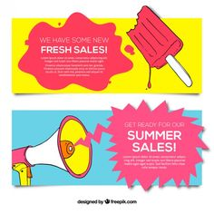 Hand drawn banners of summer sale Free Vector
