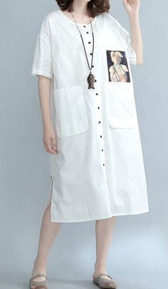 Women loose fit over plus size cartoon cowboy hat cactus dress pocket tunic cute Muslim Fashion, Modest Fashion, Korean Fashion, Girl Fashion, Fashion Outfits, Linen Dresses, Casual Dresses, Loose Fit, Simple Shirts