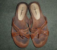 Women's Vintage Brown THOM MCAN T-Strap Studded Sandals Shoes, Size 7, GUC #ThomMcan #SlipOnTStrapSandalsShoes